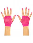 Korte roze netstof handschoenen voor volwassenen