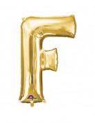 Enorme goudkleurige letter F ballon