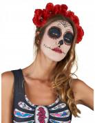 Rode Dia de los Muertos bloemen haarband