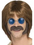Bruine hippie set met snor en bakkebaarden voor mannen