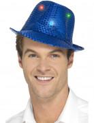 Blauwe hoed met lovertjes en LEDs voor volwassenen