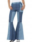 Blauwe jean patchwork broek voor vrouwen