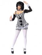 Zwart en wit sexy clown kostuum voor vrouwen