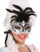 Glitter Renaissance masker met veren voor vrouwen