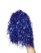 2 metallic blauwe pompons