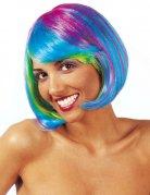 Veelkleurige fluo pruik voor vrouwen