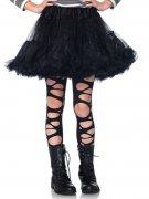 Ondoorzichtige zwarte punk legging met gaten voor kinderen