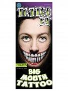 Grote lach met grote tanden nep tatoeage voor volwassenen
