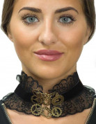 Zwarte Steampunk halsband met kant voor vrouwen