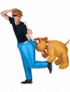 Opblaasbare bijtende hond kostuum voor volwassenen