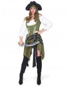 Groen en wit piraten kostuum voor vrouwen