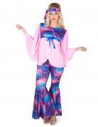 Roze-paars hippie kostuum voor vrouwen