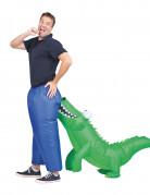 Opblaasbaar krokodil carry me outfit voor volwassenen