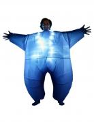 Blauw opblaasbaar en lichtgevend Morphsuits™ kostuum voor volwassenen