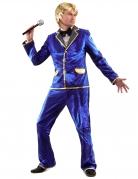 Glanzend blauw disco kostuum voor mannen