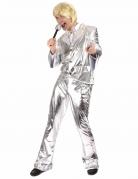 Glanzend zilverkleurig disco kostuum voor mannen