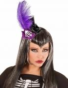 Paarse Dia de los Muertos mini hoge hoed voor volwassenen