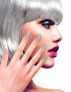 Zilverkleurige glitter nep nagels voor volwassenen