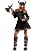 Zwart viking kostuum voor vrouwen