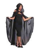 Lange zwarte cape met capuchon voor dames