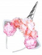 Eenhoorn haarband met roze bloemen voor volwassenen