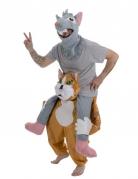 Muis op een kat carry me kostuum voor volwassenen