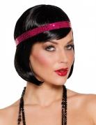 Korte zwarte pruik met roze haarband