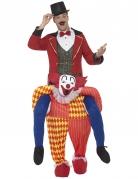 Man op rug van clown kostuum