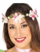Lichtgevende roze bloemenkrans voor volwassenen