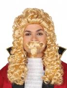 Lange blonde markies pruik met snor voor volwassenen