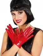 Rode korte metallic handschoenen voor vrouwen