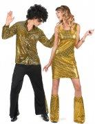 Goudkleurig disco koppelkostuum voor volwassenen