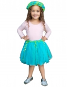 Blauwe en groene zeemeermin tutu met krans voor meisjes