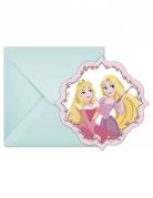 6 Disney Princesses™ uitnodigingen en enveloppen