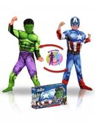 Captain America™ en Hulk™ luxe kostuum box voor jongens