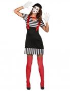 Zwart met wit gestreept mime kostuum voor dames