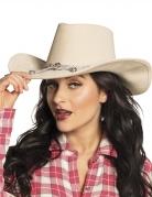 Beige cowboy hoed met touwtje voor volwassenen
