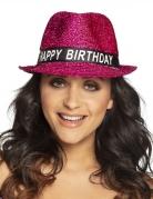 Roze glitter happy birthday hoed voor volwassenen
