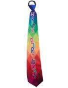 Kleurrijke Happy Birthday stropdas voor volwassenen