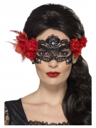 Zwart Dia de los Muertos kant masker voor volwassenen